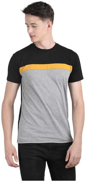 Ample Men Grey Regular fit Cotton Round neck T-Shirt - Pack Of 1