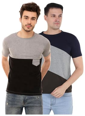 Ample Men Multi Regular fit Cotton Blend Round neck T-Shirt - Pack Of 2