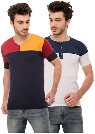 Ample Men Multi Regular fit Cotton Blend Henley neck T-Shirt - Pack Of 2