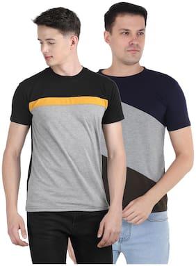 Ample Men Multi Regular fit Cotton Round neck T-Shirt - Pack Of 2