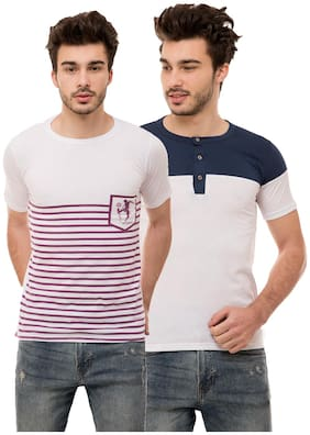 Ample Men Multi Regular fit Cotton Blend Round neck T-Shirt - Pack Of 2