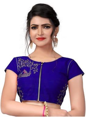 Amrutam Fab Designer Blue Malbari Silk Extra Sleeve Blouse
