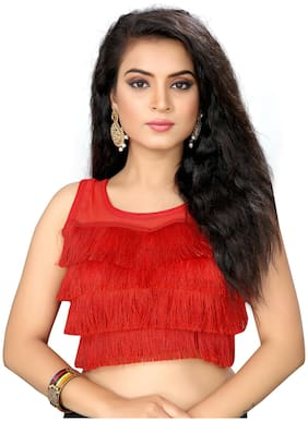 Amrutam Fab Womens Ruffle Red Silk Blouse with Round Neck