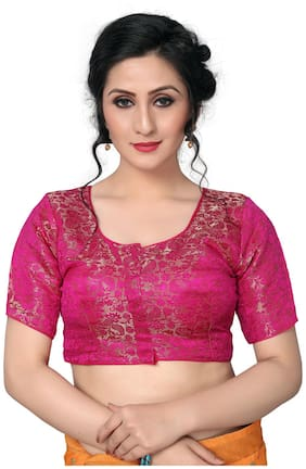Amrutam Fab Womens jacquard Pink Blouse With Round Neck