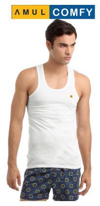 Amul Comfy White Sleeveless Vests