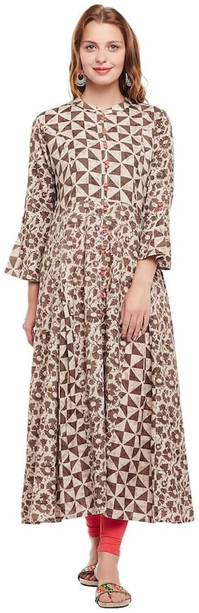 ANAISA Women Cotton Printed Anarkali Kurta - Beige