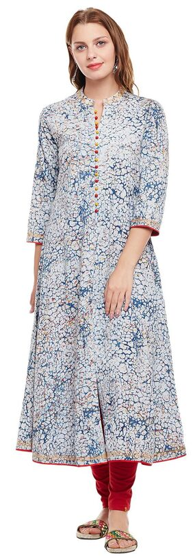 ANAISA Women Cotton Printed A Line Kurta - Blue