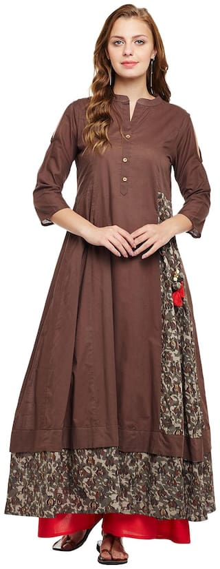ANAISA Women Cotton Printed Layered Kurta - Brown