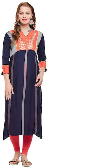 Women Embroidered Straight Kurti Dress