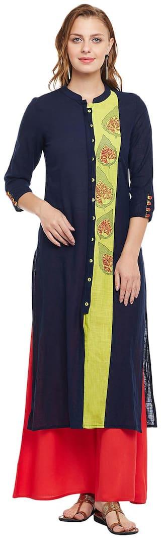 ANAISA Women Rayon Embroidered Straight Kurti dress - Blue