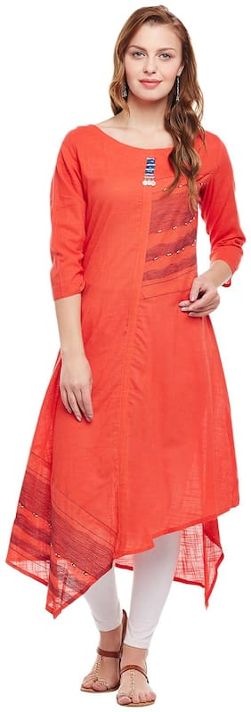 ANAISA Women Rayon Solid Assymetrical Kurta - Orange