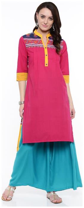 ANAISA Women Cotton Solid Straight Kurta - Pink