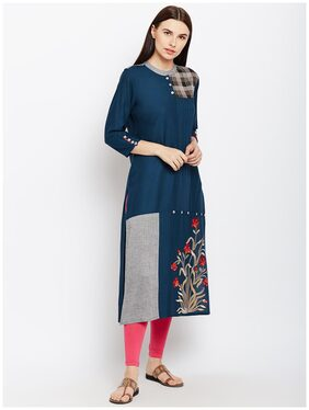 ANAISA Women Rayon Embroidered Straight Kurti Dress - Blue
