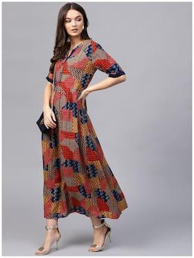 Women Abstract Anarkali Kurti Dress