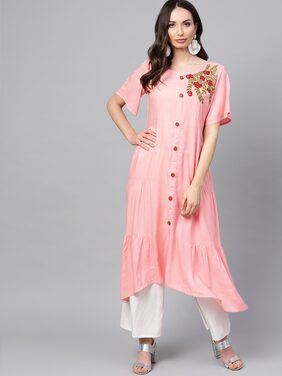 ANAISA Women Rayon Embroidered A Line Kurta - Pink