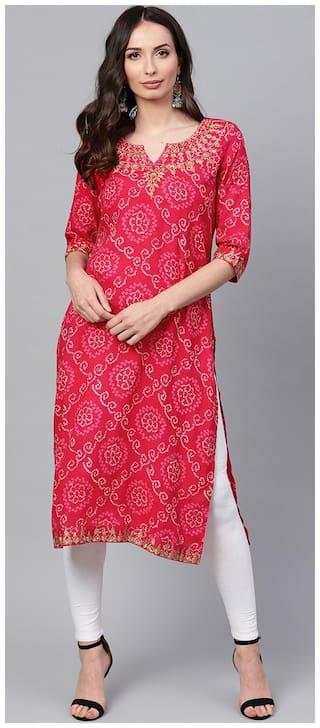 ANAISA Women Rayon Embroidered Straight Kurta - Pink