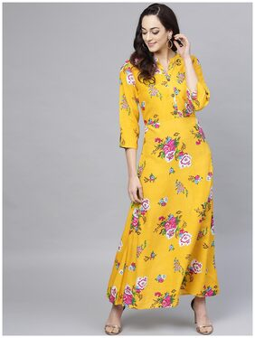 ANAISA Women Rayon Printed A Line Kurti Dress - Yellow