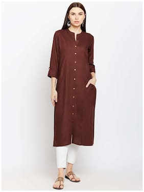 Women Solid Straight Kurti Dress
