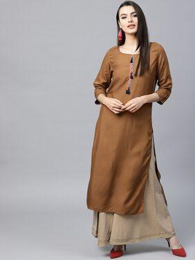 Anaisa Women Brown Rayon Solid Long Kurta