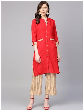 Anaisa Women Red & Beige Straight Rayon Solid Mandarin Collar Kurta With Palazzos