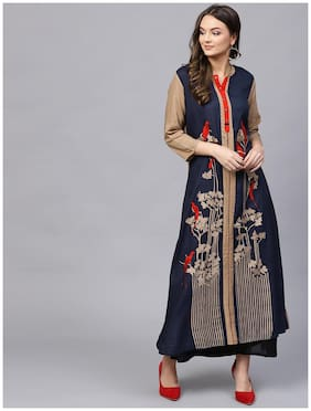 Women Embroidered Straight Kurta
