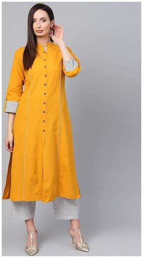 Anaisa Women Mustard Straight Cotton Flex Solid Mandarin Collar Kurta With Palazzos