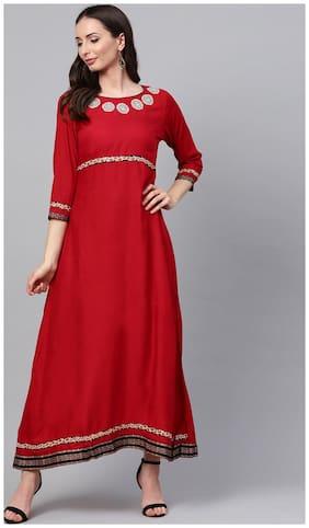 Women Embroidered A Line Kurti Dress