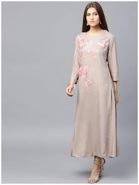 Anaisa Women Grey Rayon Embroidred Maxi Kurti Dress