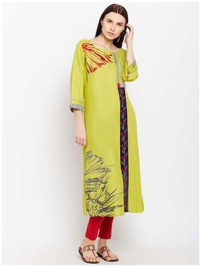 Anaisa Women Green Rayon Embroidery Long Kurta
