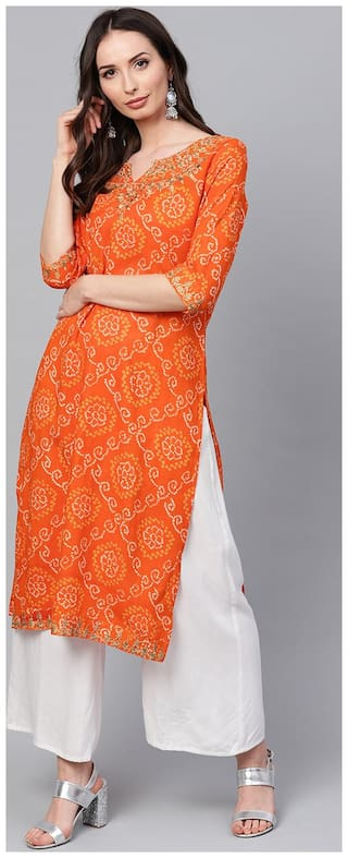 ANAISA Women Rayon Embroidered Straight Kurta - Orange