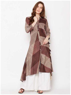ANAISA Women Rayon Printed A Line Kurti Dress - Beige