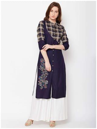 ANAISA Women Rayon Embroidered Straight Kurta - Blue