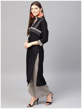 Anaisa Women Black Straight Rayon Printed Mandarin Collar Kurta Set