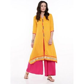 ANAISA Yellow Rayon Long Kurta
