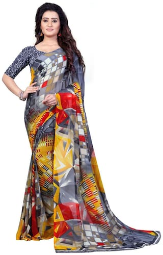 Anand Sarees Faux Georgette Printed Grey Color With blouse piece ( 1344 )