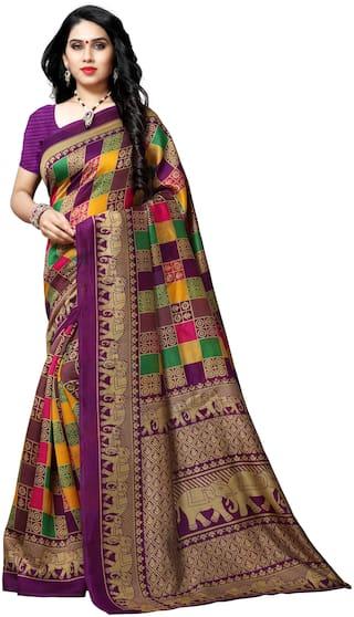 Anand Sarees Purple Checkered Bhagalpuri Designer Saree With Blouse , With blouse