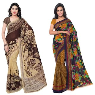 Anand Sarees Faux Georgette Multi Color Printed Pack Of 2 Saree With Blouse Piece  ( 1086_3_1107_2 )