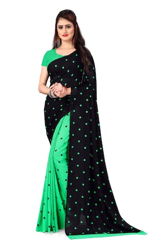 Anand Sarees Faux Georgette Polka Dots Green Regular Saree  For Women