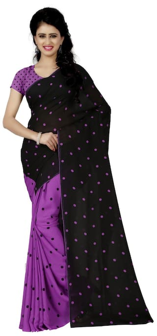 4b1aae7ed1972 Anand Sarees Faux Georgette Printed Purple Color   Multicolor With blouse  piece (1262 4)
