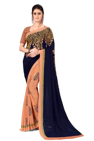 Anand Sarees Faux Georgette Printed Blue Regular Saree  For Women