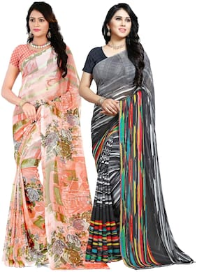 Georgette Universal Saree ,Pack Of 2