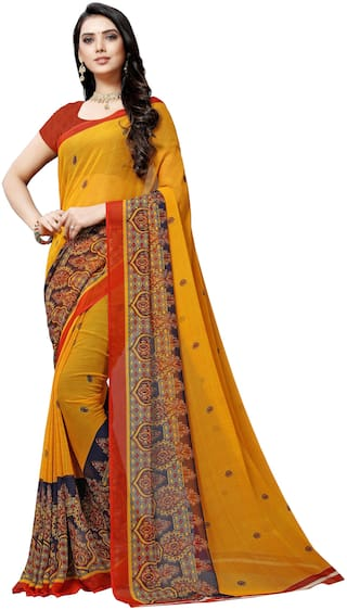 Anand Sarees Faux Georgette Saree With Unstitched Blouse Mustard Color