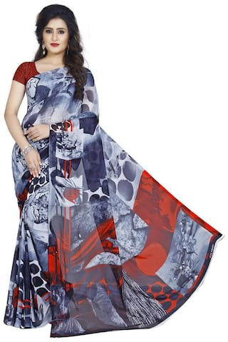 Anand Sarees Faux Georgette Printed Multi Color With blouse piece ( 1370 )