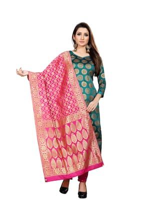 Anand Sarees  Women Silk Woven Pink Dupatta