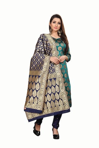 Anand Sarees Blue & Green Unstitched Kurta with bottom & dupatta With dupatta Dress Material