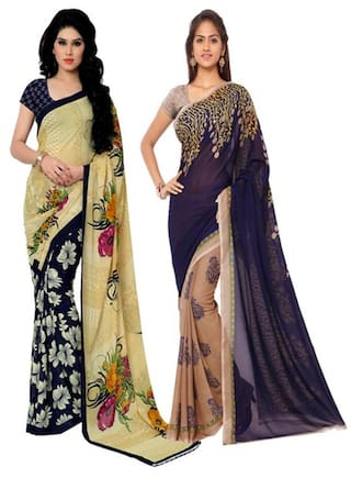 Anand Sarees Printed Designer Faux Georgette Multicolor Saree With Blouse pcs (Combo Pack)