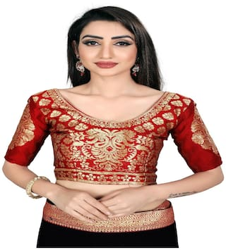 Anand Sarees Silk Embellished Blouse Red