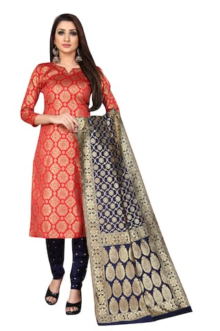 Anand Sarees Red Unstitched Kurta with bottom & dupatta With dupatta Dress Material