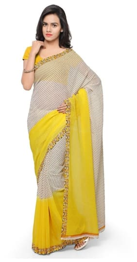 b1c8edb3f7819 Anand Sarees Faux Georgette Yellow Colored Printed Sari with Blouse Piece  (1194 4)