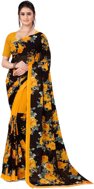 Anand Sarees Faux Georgette Floral Multi Color Saree with Blouse Piece